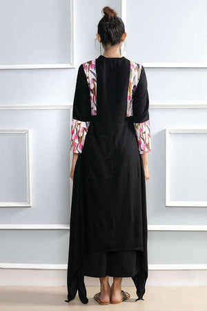 Black Kurta With Floral Prints