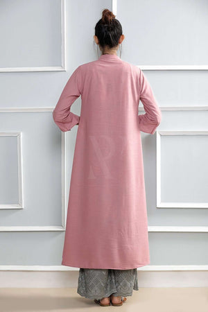 White Printed Kurta With Pink Shrug