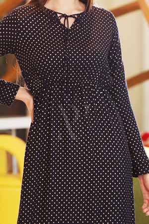 Navy Blue Golden Polka Dress