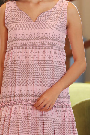 Powder Pink Gathered Dress With Grey Designs