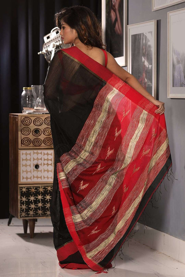 Ebony Black Blended Cotton Saree With Scarlet Border Akasha Roopkatha - A Story of Art