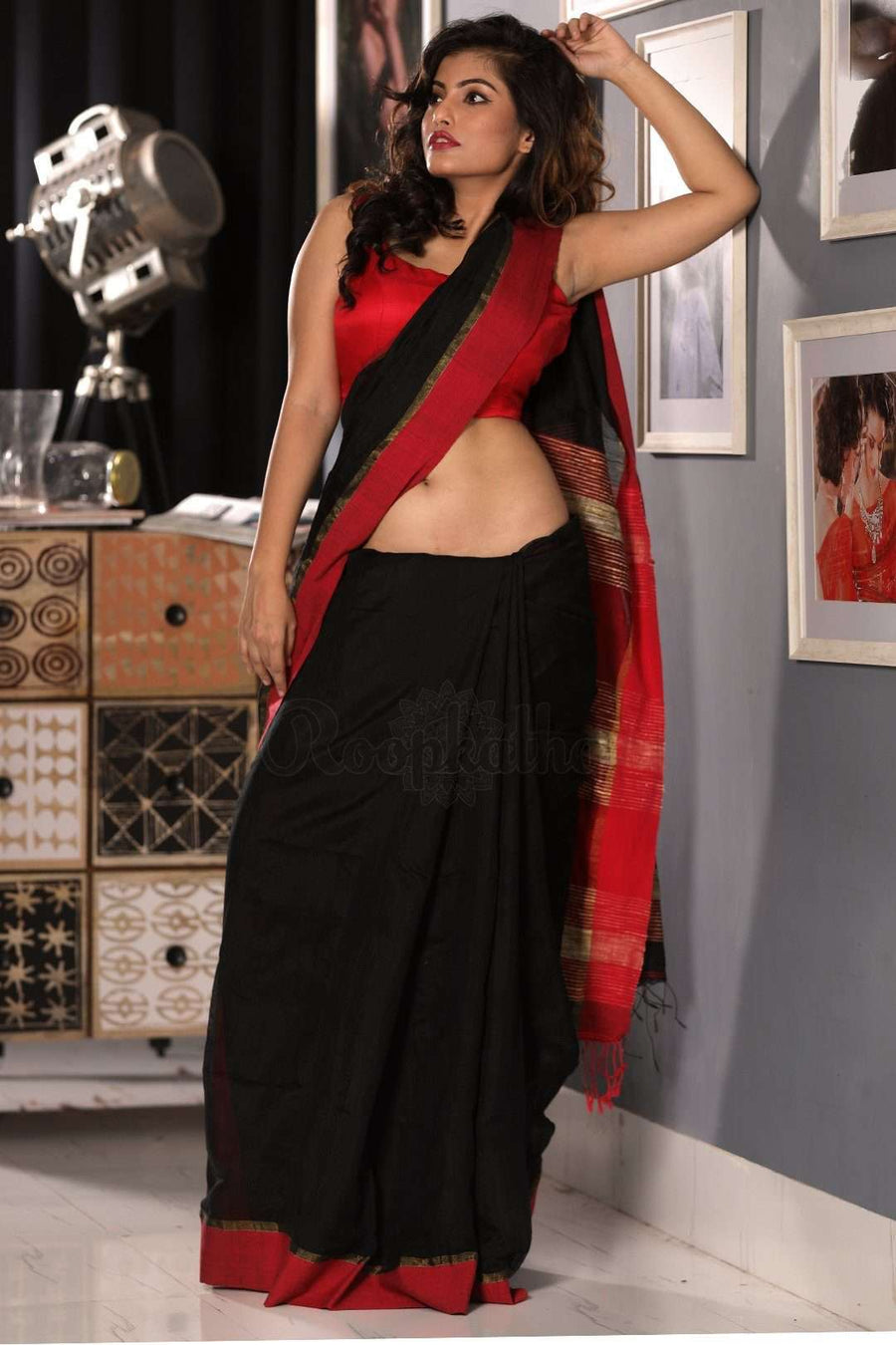 Ebony Black Blended Cotton Saree With Scarlet Border