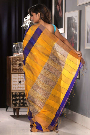 Honey & Indigo Textured Blended Cotton Saree