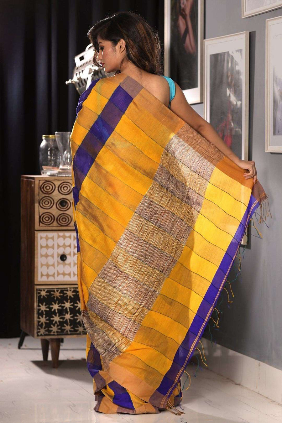 Honey & Indigo Textured Blended Cotton Saree Akasha Roopkatha - A Story of Art
