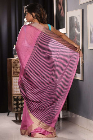 Taffy Pink Blended Cotton Saree With Textured Pallu