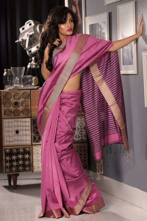 Taffy Pink Blended Cotton Saree With Textured Pallu Akasha Roopkatha - A Story of Art