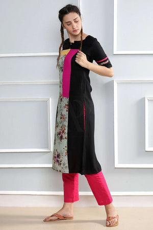 Black Kurta With Printed Patches