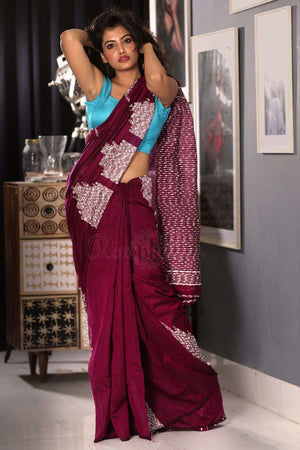 Mulberry Blended Cotton Saree With Textured Pallu
