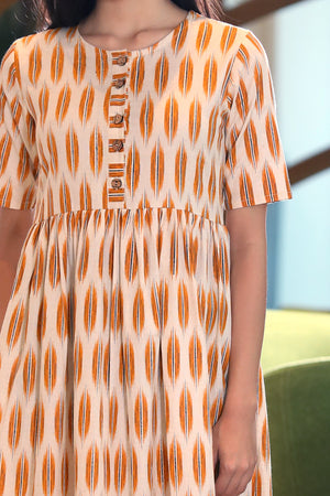 Orange Ikkat Dress