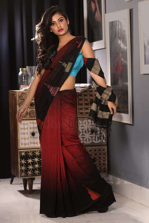 Red Cotton Ghicha Saree With Black Border