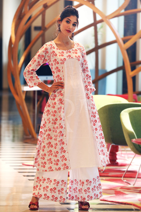White & Coral Floral Kurta With Palazzo