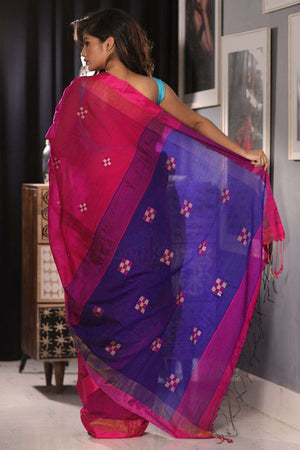 Boysenberry Blended Cotton Saree With Geometric Motif Akasha Roopkatha - A Story of Art