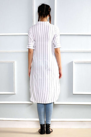 White Striped Collared Kurta