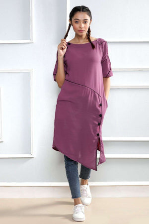 Purple Asymmetric Kurta Rivka Roopkatha - A Story of Art