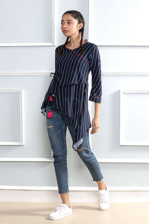 Blue Striped Asymetric Tunic