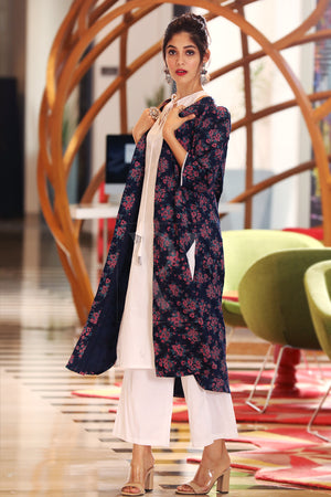 Navy Blossom Jacket With Kurta & Palazzo Set