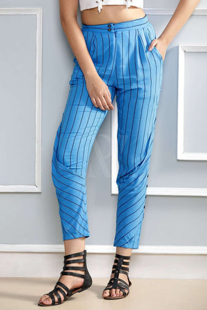 Blue Striped Tapered Pants