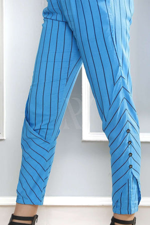Blue Striped Tapered Pants Rivka Roopkatha - A Story of Art