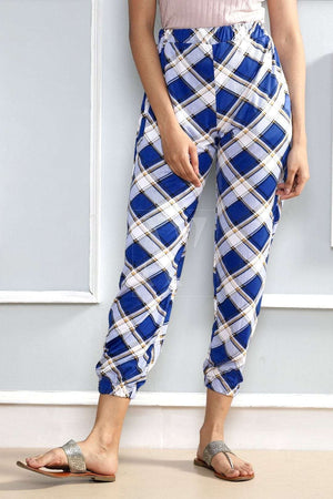 Blue Printed Straight Pants