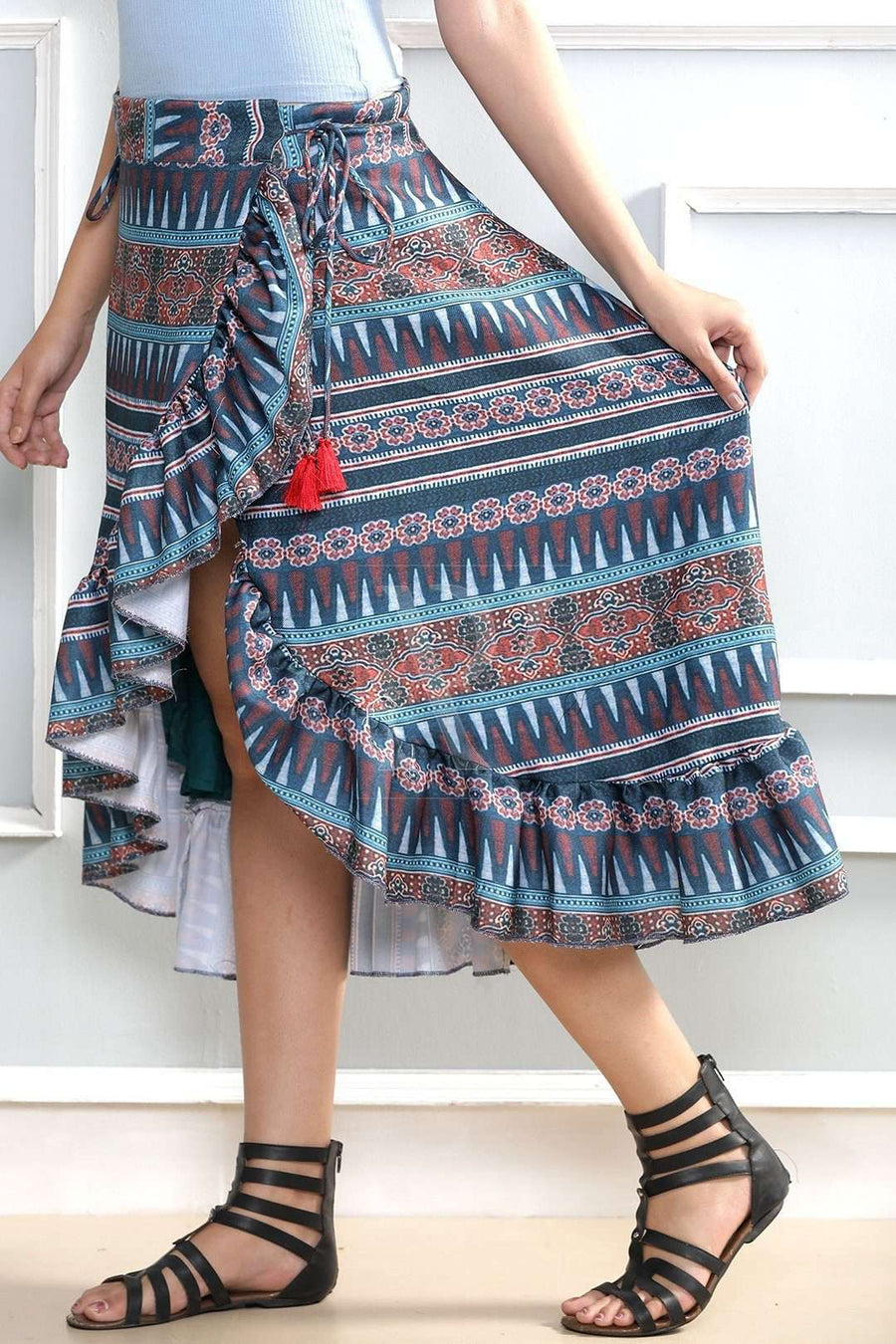 Digital Printed Asymmetric Skirt