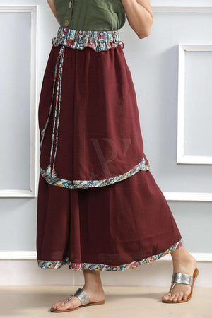 Maroon Layered Skirt