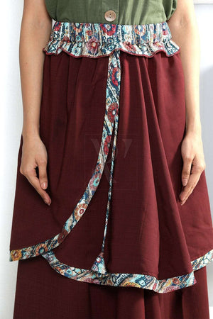 Maroon Layered Skirt Rivka Roopkatha - A Story of Art