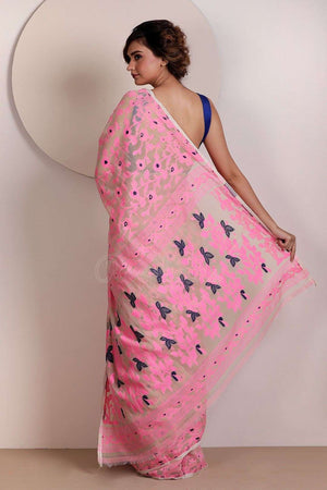 Flamingo Pink Blended Cotton Saree With Jamdani Weave