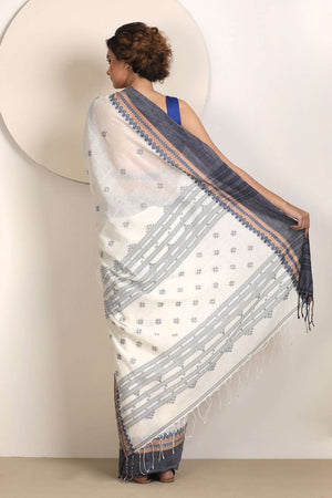 Pearl White Pure Cotton Saree With Smoke Grey Border