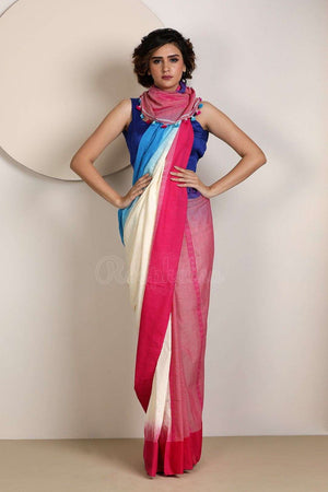 Multicolour Pure Cotton Saree With Pompoms Cotton Threads Of India Roopkatha - A Story of Art