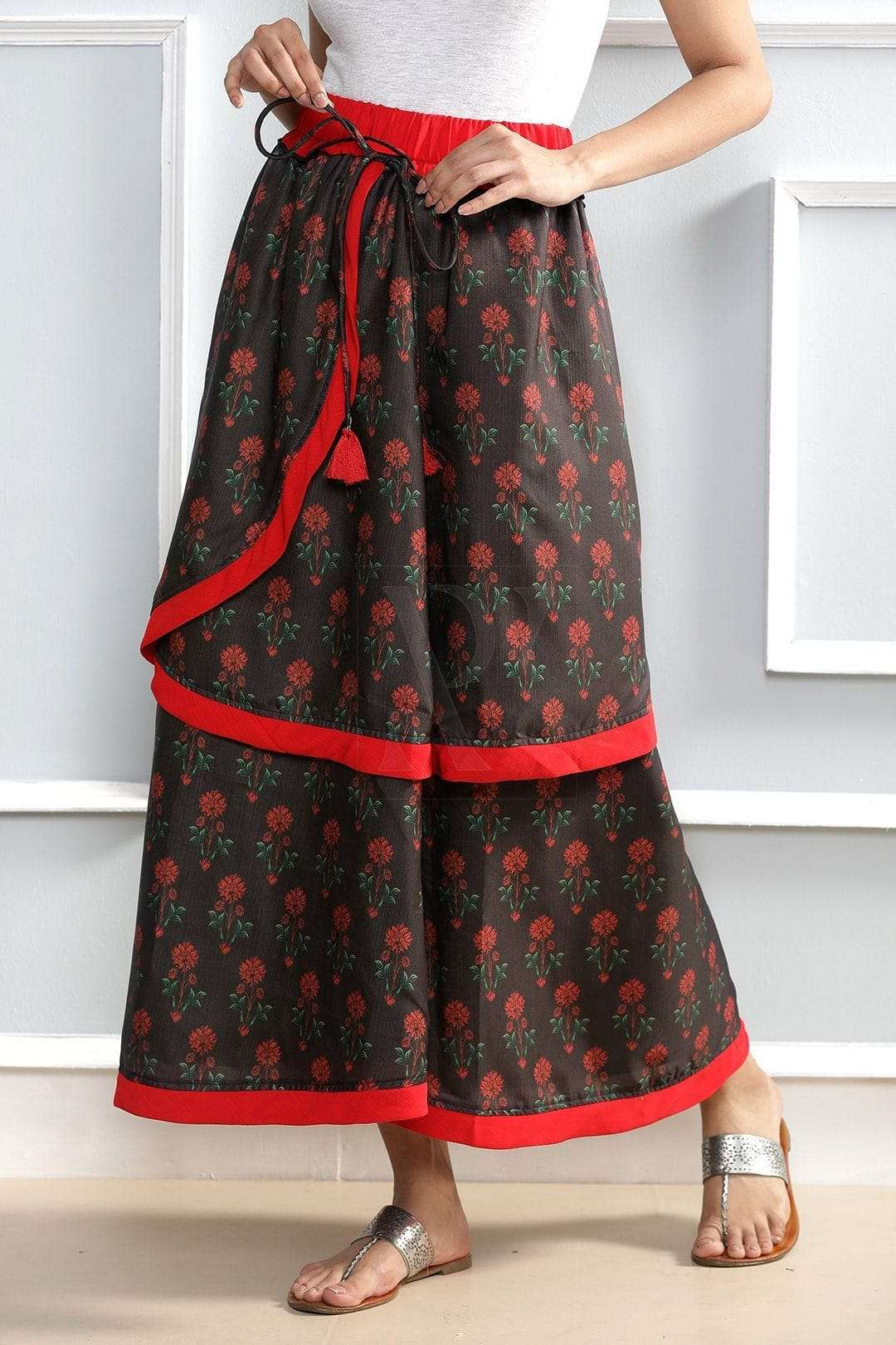 7079262c12d Floral Print Layered Skirt - Roopkatha - A Story of Art