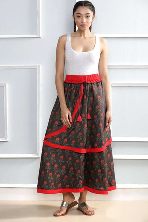Floral Print Layered Skirt Rivka Roopkatha - A Story of Art