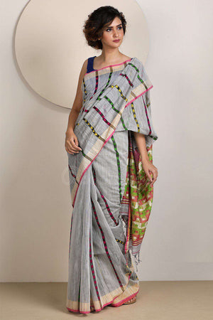 Silver Grey Blended Cotton Saree With Woven Design Akasha Roopkatha - A Story of Art