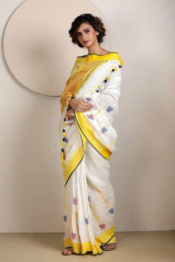 White Linen Saree with Pompoms