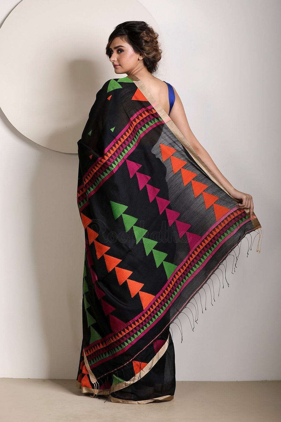 Black Blended Cotton Saree With Woven Design Akasha Roopkatha - A Story of Art