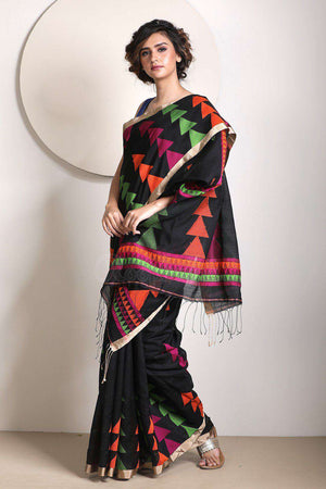 Black Blended Cotton Saree With Woven Design