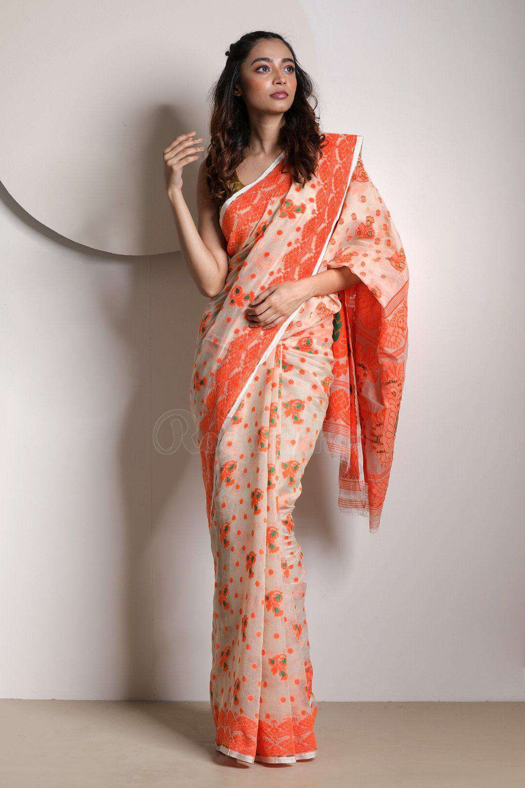 1d9ee455df665 Beige Cotton Jamdani Saree With Woven Border - Roopkatha - A Story ...