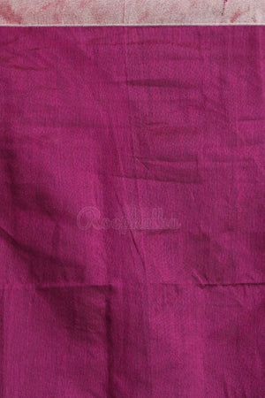 Parmesean Blended Cotton Saree With Plum Pallu Akasha Roopkatha - A Story of Art