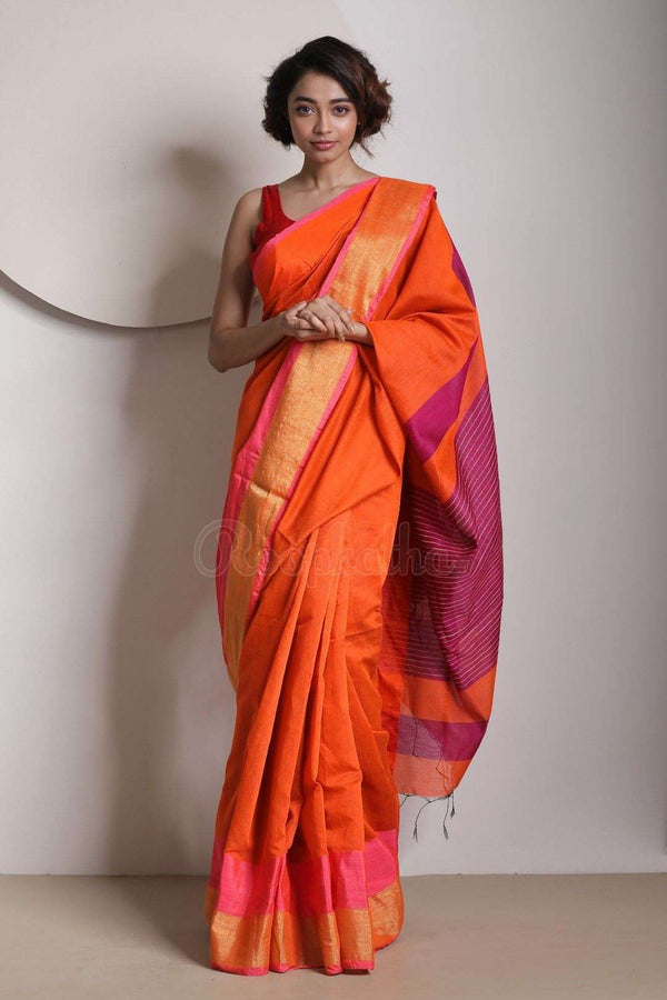 Tiger Orange Blended Cotton Saree With Zari Border