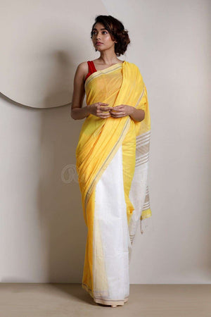 Yellow & White Half-&-Half Blended Cotton Saree