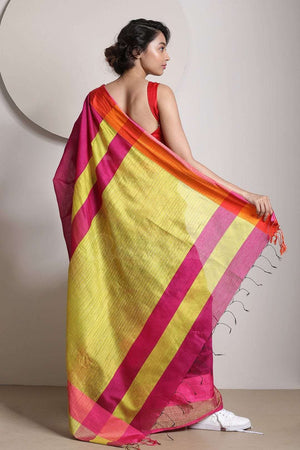 Magenta Blended Cotton Saree With Corn Yellow Pallu