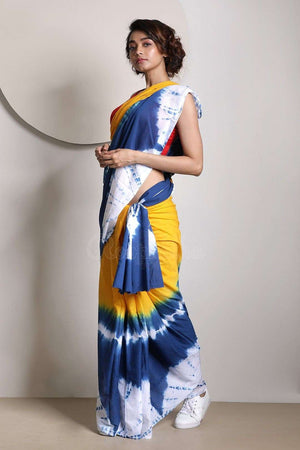 Multicolour Tie-&-Dye Pure Cotton Saree