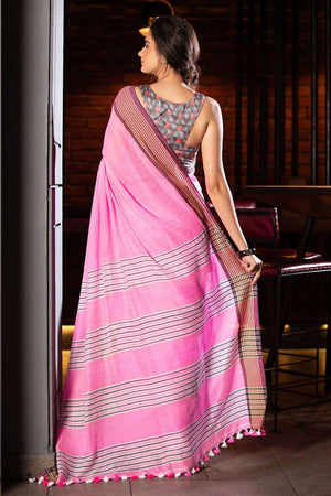 Pink Organic Cotton Saree With Pompom Cotton Threads Of India Roopkatha - A Story of Art