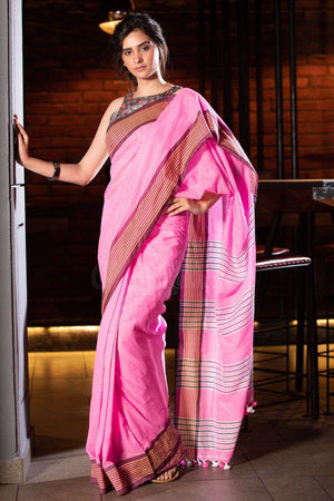 Pink Organic Cotton Saree With Pompom