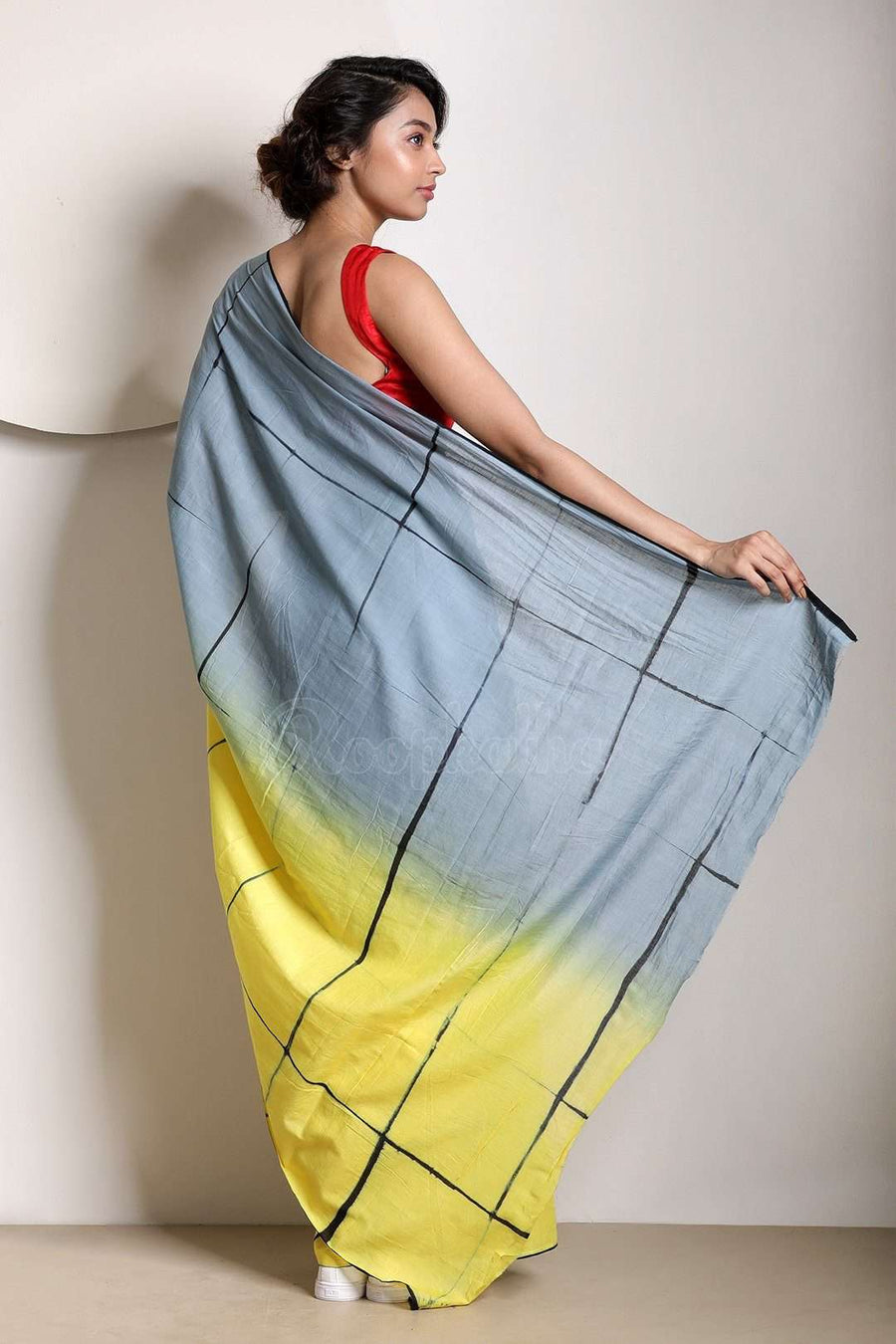 Steel Grey and Yellow Tie-&-Dye Pure Cotton Saree