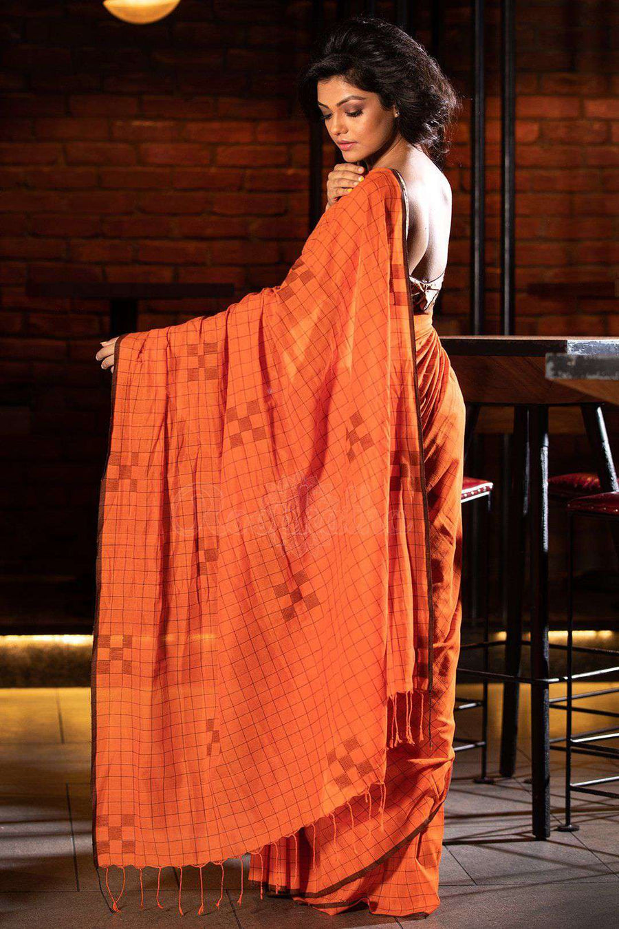 Orange Cotton Saree With Black Check