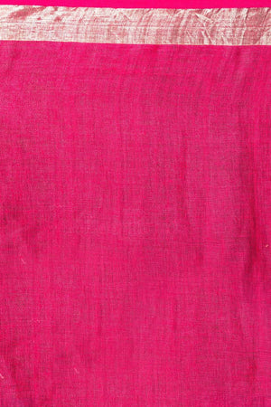 Bright Pink Linen Saree With Zari Work