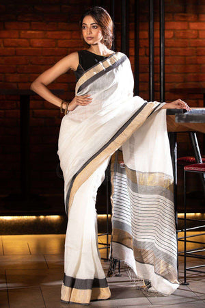 White Matka Resham Silk Saree With Black Border