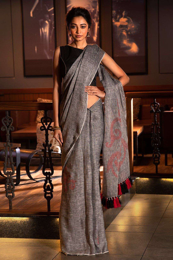 Grey Linen Saree With Woven Design Earthen Collection Roopkatha - A Story of Art