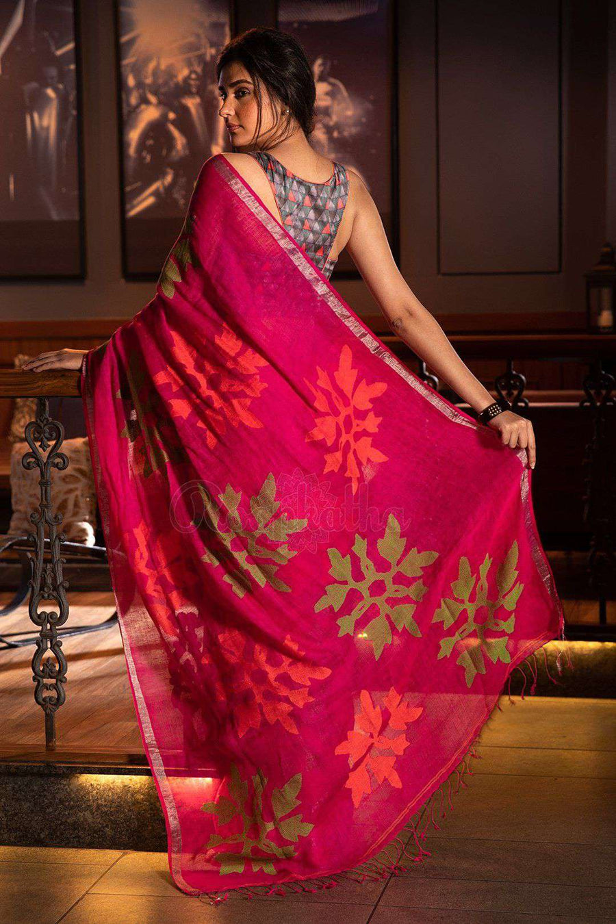 Fuchsia Linen Saree With Woven Design