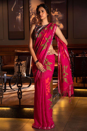 Fuchsia Linen Saree With Woven Design Earthen Collection Roopkatha - A Story of Art